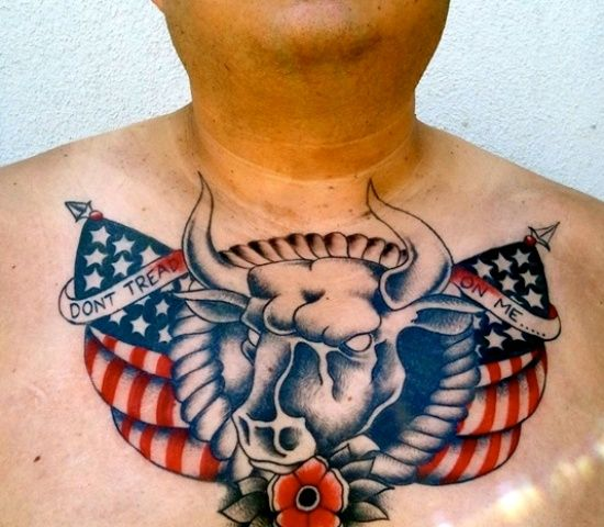American Bull Traditional Tattoo On Chest For Men
