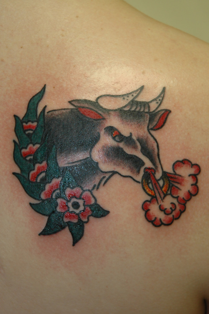 Angry Bull Traditional Tattoo By KeelHauled Mike