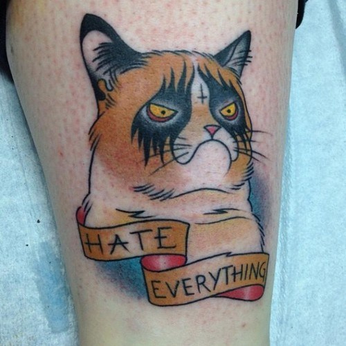 Angry Grumpy Cat Traditional Tattoo