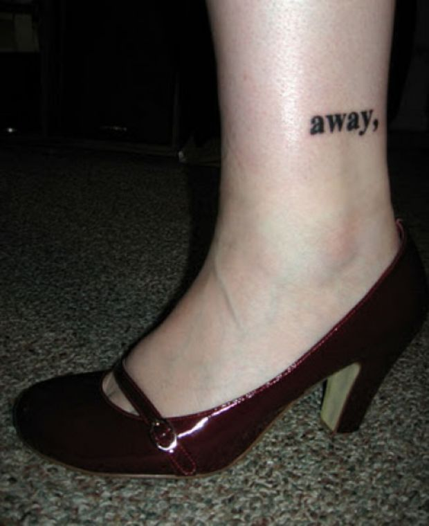 Away Word Tattoo On Woman Ankle
