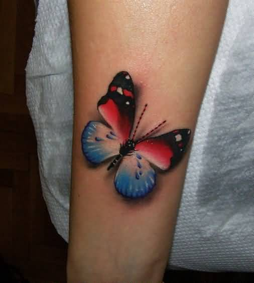 Awesome 3D Butterfly Tattoo On Girl Arm