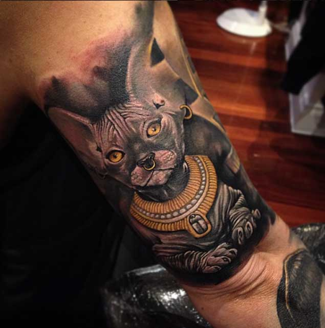 Awesome 3D Egyptian Style Cat Tattoo On Elbow