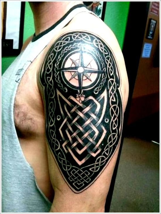Awesome Celtic Compass Tattoo On Left Half Sleeve For Men