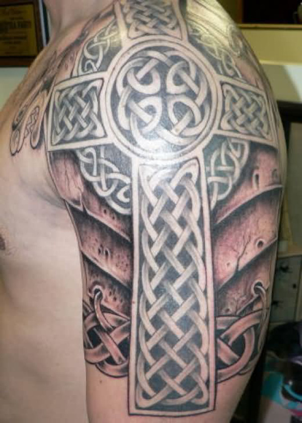 Awesome Celtic Cross Armor Tattoo On Left Half Sleeve
