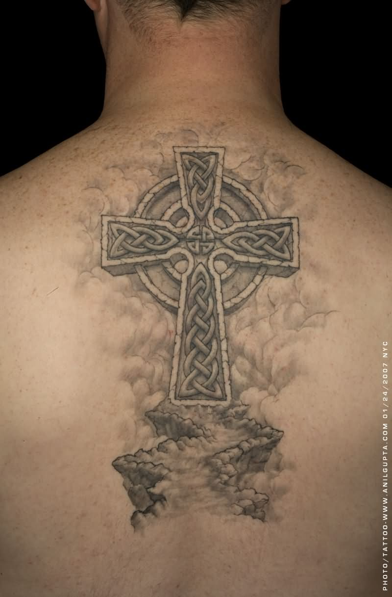 Awesome Celtic Cross Religious Way Tattoo On Upper Back