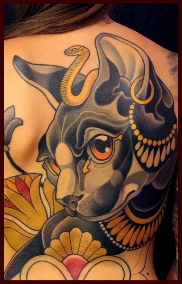 Awesome Egyptian Cat Tattoo In Progress
