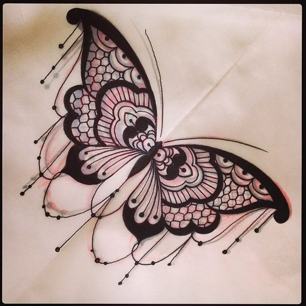 Awesome Lace Butterfly Tattoo Design By Dom Holmes