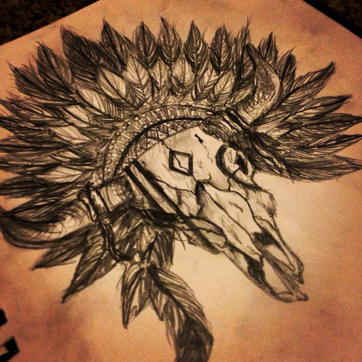 Awesome Native Bull Skull Tattoo Drawing