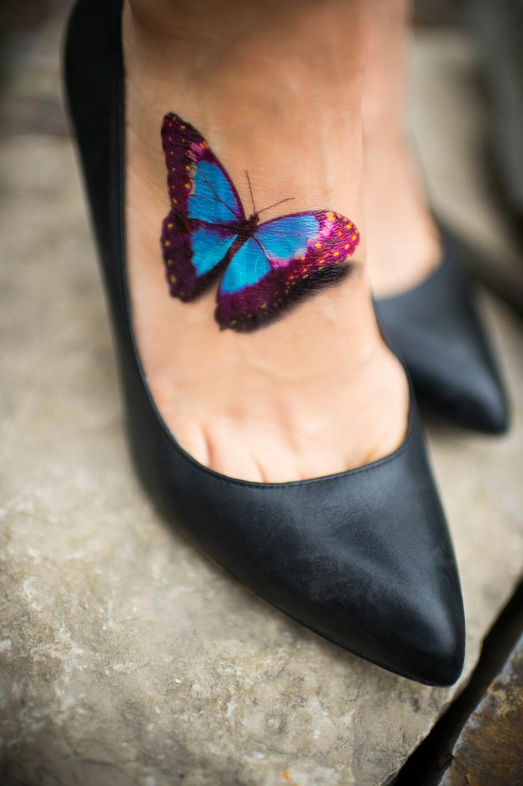 Beautiful 3D Butterfly Instep Tattoo For Women