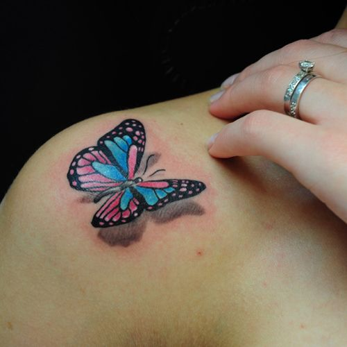 Beautiful 3D Butterfly Tattoo For Women