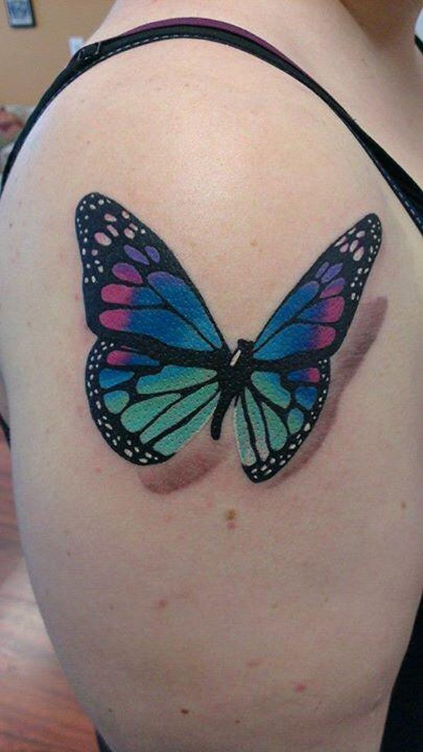 Beautiful 3D Butterfly Tattoo On Right Shoulder For Girls