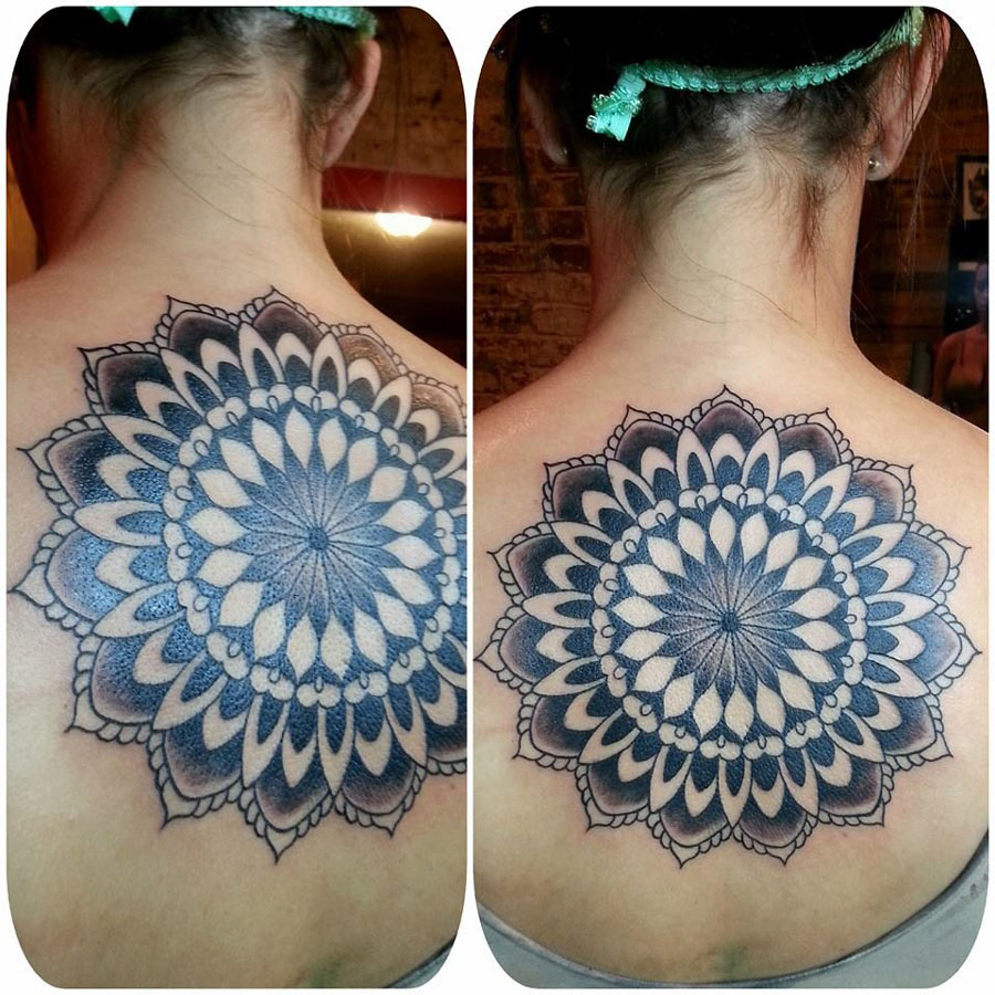 Traditional flower tattoo mandala