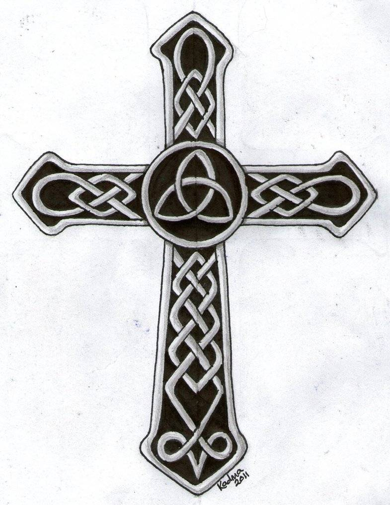 Black And Grey Celtic Cross Tattoo Design