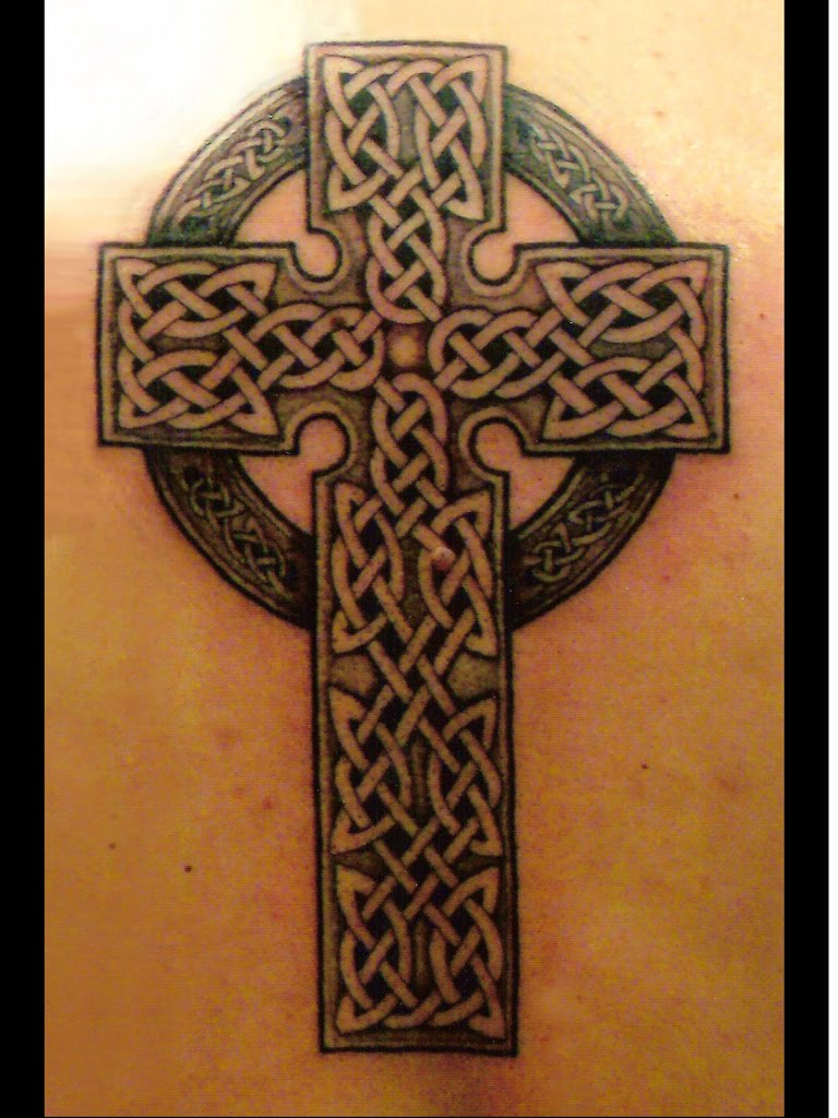 Black And Grey Celtic Cross Tattoo
