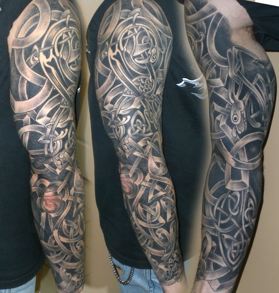 Black And Grey Celtic Sleeve Tattoo By Daniel Rosini