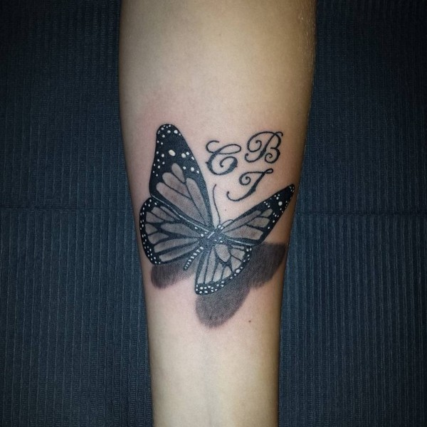 Black Butterfly 3D Tattoo On Arm Sleeve