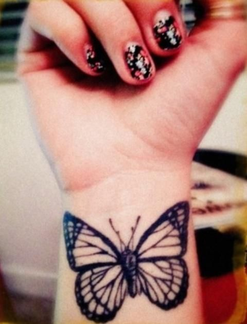Black Butterfly Tattoo On Wrist For Girls