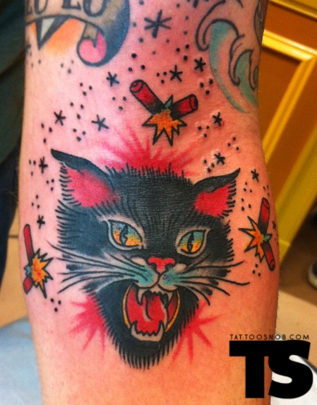 Black Cat And Fire Work Traditional Tattoo
