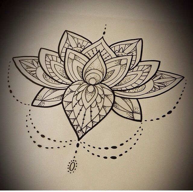 Black Mandala Lotus Flower Tattoo Design