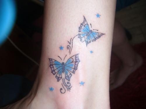 Blue Butterflies Tattoo On Ankle