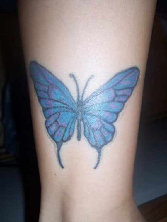 Blue Butterfly Tattoo On Ankle
