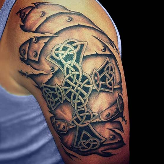 Brilliant 3D Celtic Cross Tattoo On Left Half Sleeve