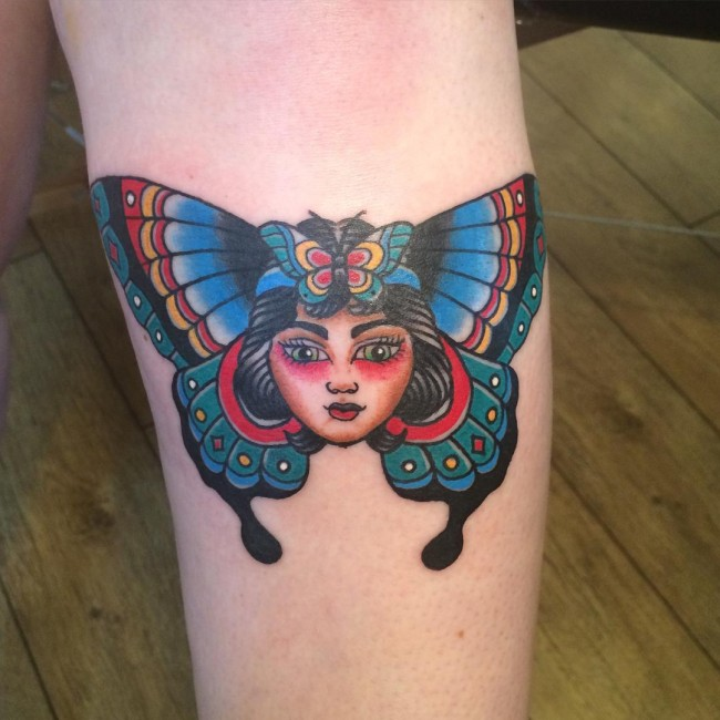 Butterfly Girl Traditional Tattoo On Forearm