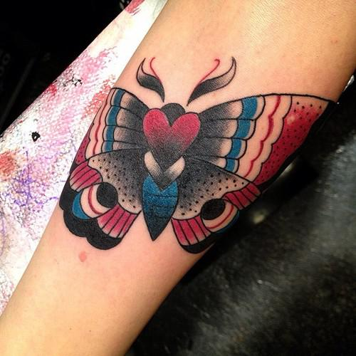 Butterfly Love Traditional Tattoo On Arm