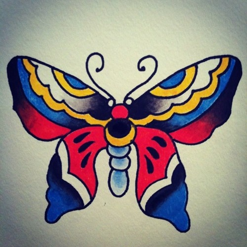 Butterfly Traditional Tattoo Design