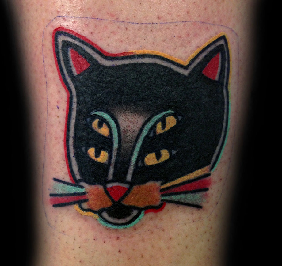 Cat Illusion Traditional Tattoo By Danh