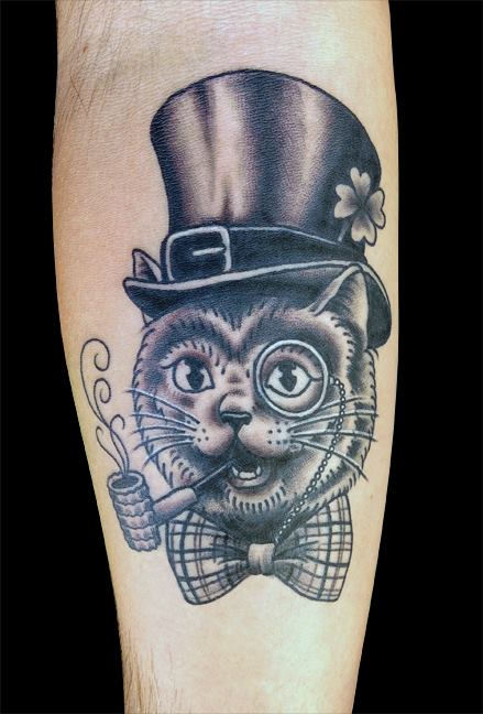 Cat Smoking Pipe Traditional Tattoo On Arm Sleeve
