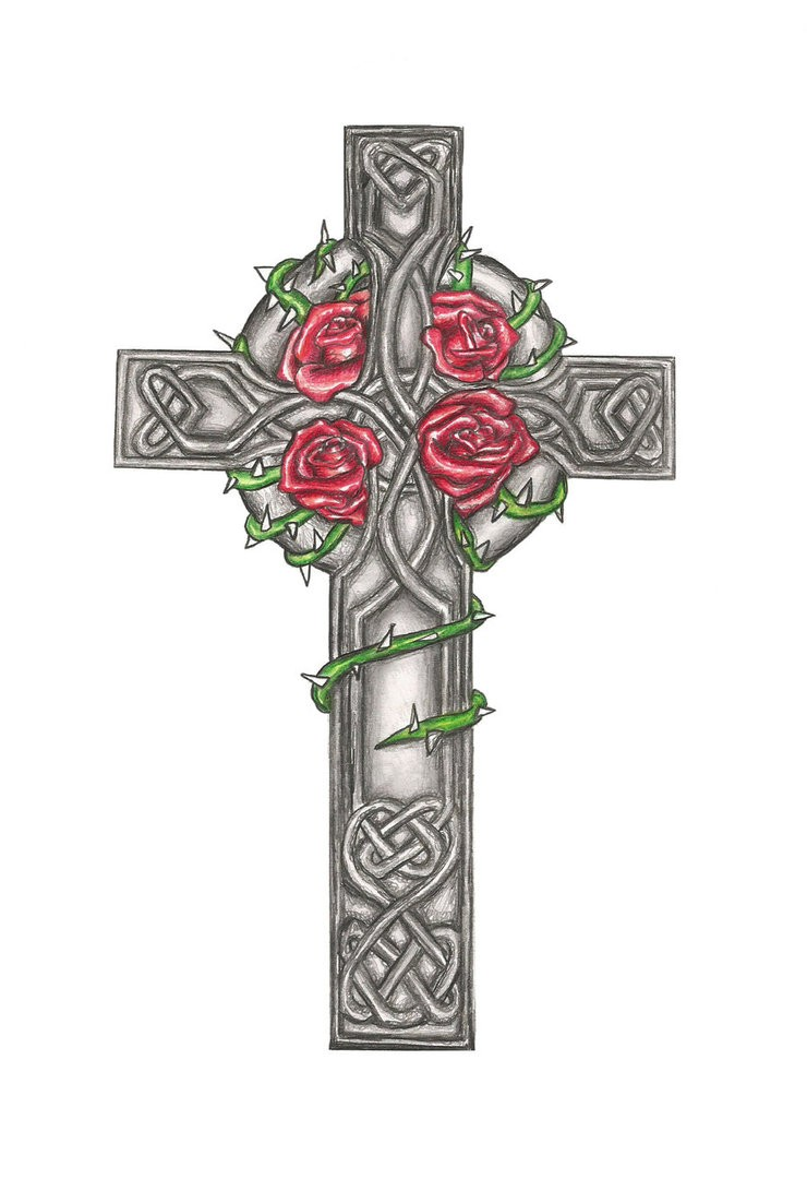 Celtic Cross And Rose Flowers Tattoo Design