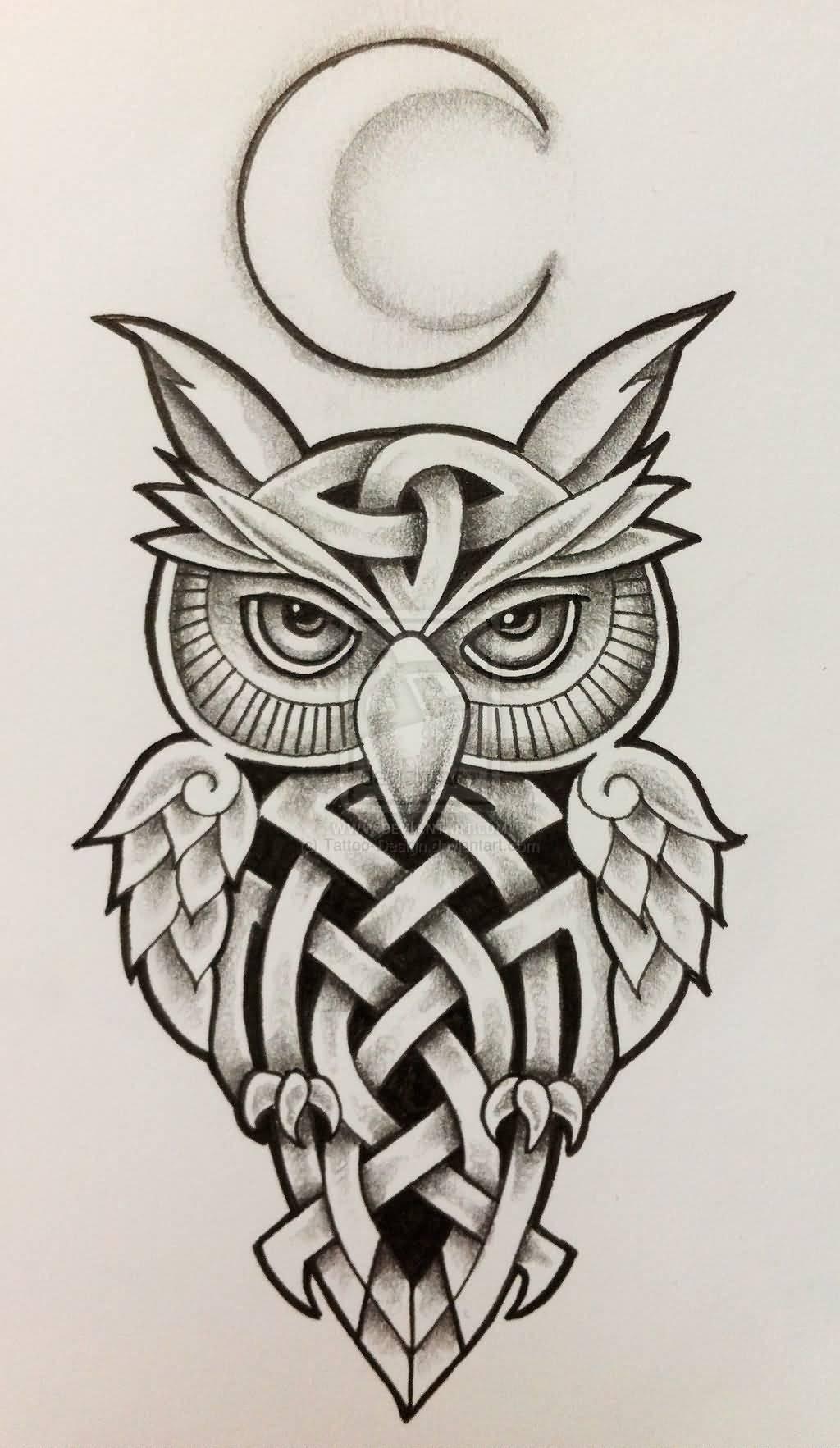 Celtic Moon Owl Tattoo Design