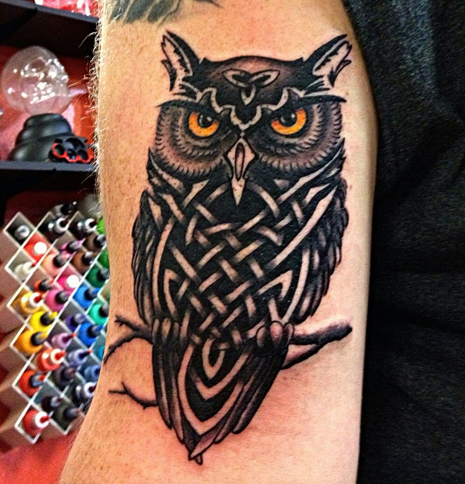 Celtic Owl Tattoo On Left Half Sleeve