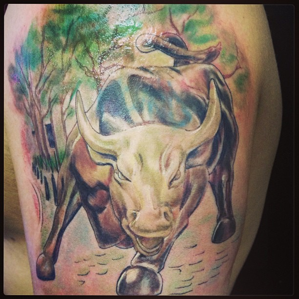 Charging Bull With Trees Tattoo On Shoulder