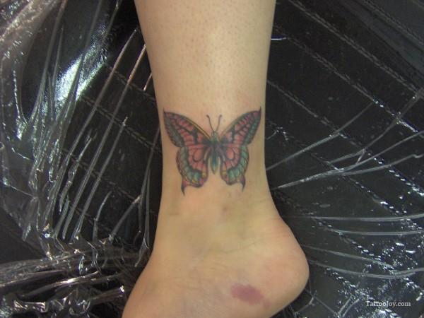 Colored Butterfly Ankle Tattoo