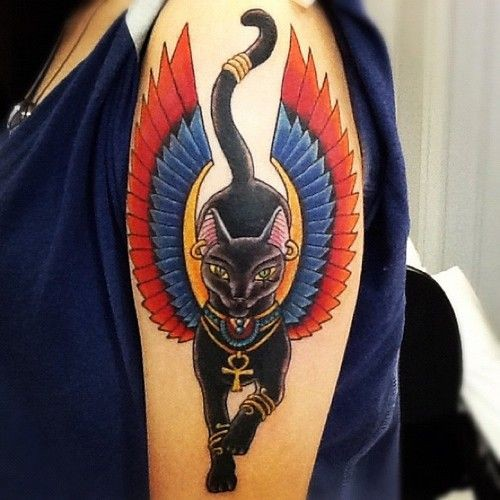 Colored Sacred Egyptian Cat With Wings Tattoo On Shoulder
