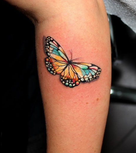 Colorful 3D Butterfly Tattoo On Arm Sleeve