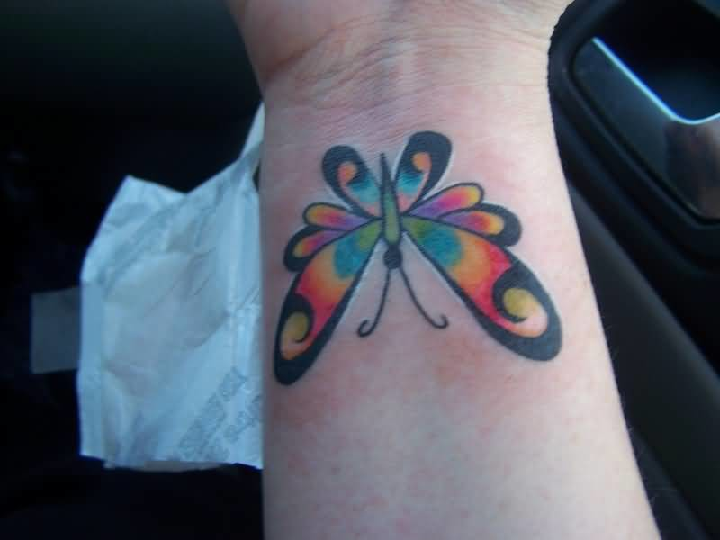 Colorful Butterfly Wrist Tattoo