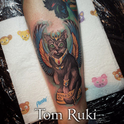 Colorful Egyptian Cat Tattoo On Arm Sleeve By Tom Ruki
