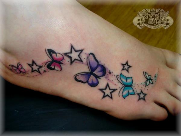 Cool Butterflies and Stars Tattoo On Foot