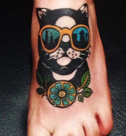 Cool Cat Traditional Tattoo On Foot