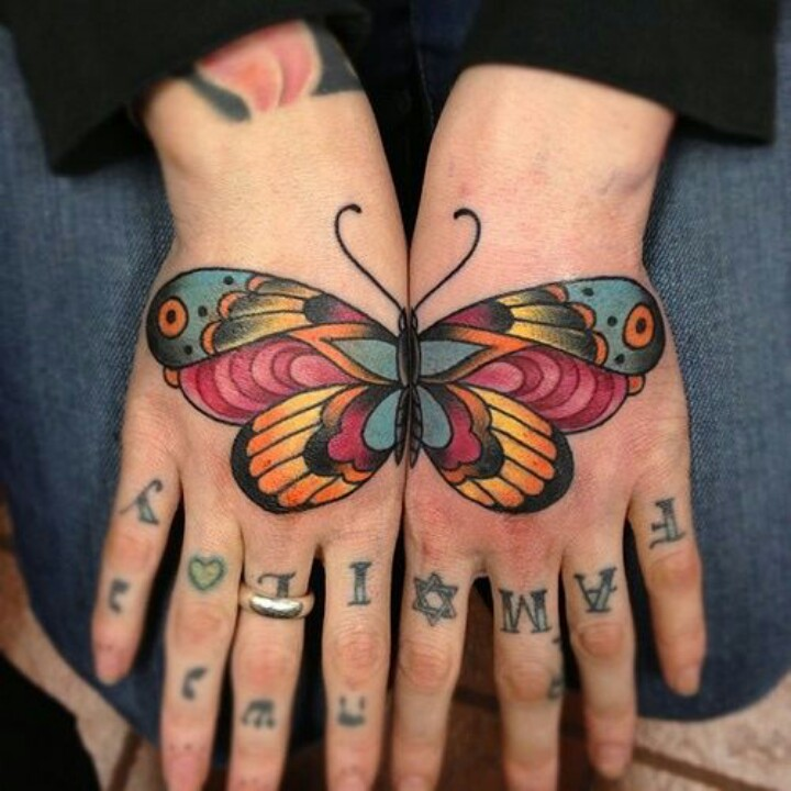 Creative Butterfly Traditional Tattoo On Both Hand