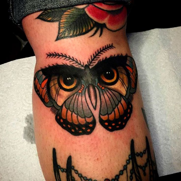 Creative Owl Butterfly Tattoo By Chris Stockings