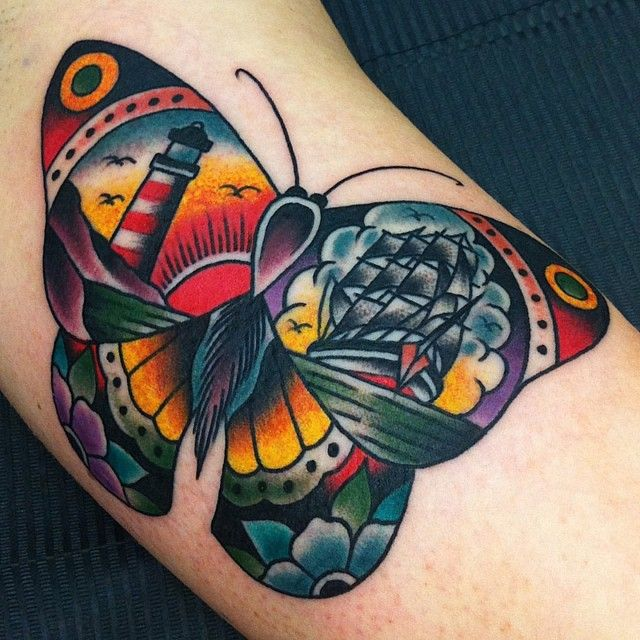 Creative Traditional Butterfly Tattoo On Arm