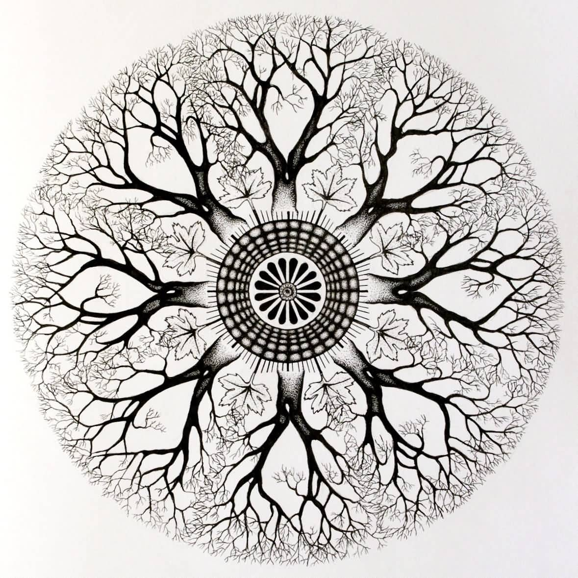Custom Mandala Tree Circle Tattoo Design By Miss Meme