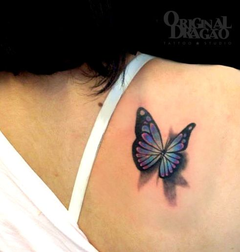Cute 3D Butterfly Tattoo On Right Back Shoulder