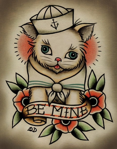 Cute Be Mine Sailor Cat Traditional Tattoo Design