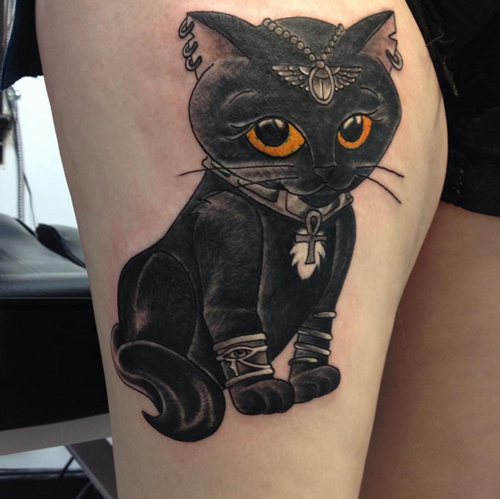 Cute Egyptian Cat Tattoo On Right Thigh