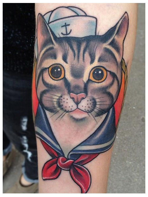 Cute Sailor Cat Traditional Tattoo On Forearm